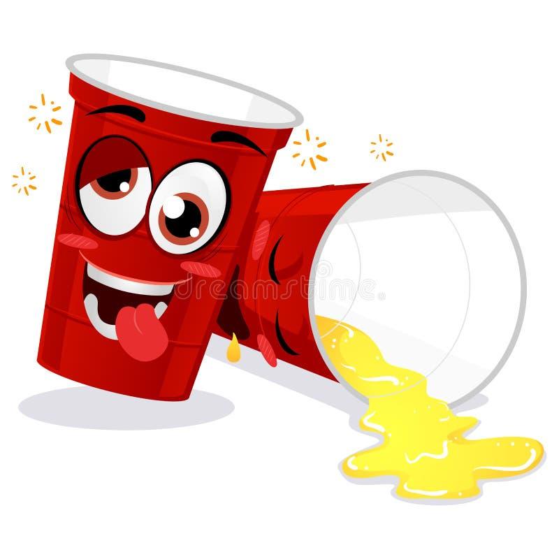 Två rött plast- öl Pong Cup Feeling Drunk Mascot stock illustrationer