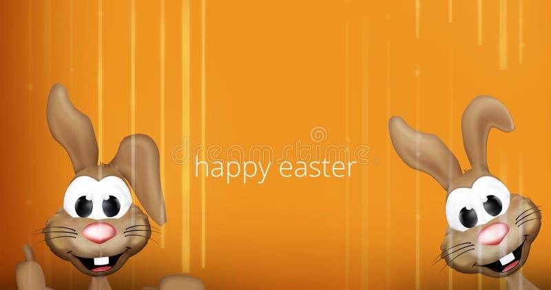 Två randig bakgrund för lycklig apelsin för easter kaniner 3D vektor illustrationer
