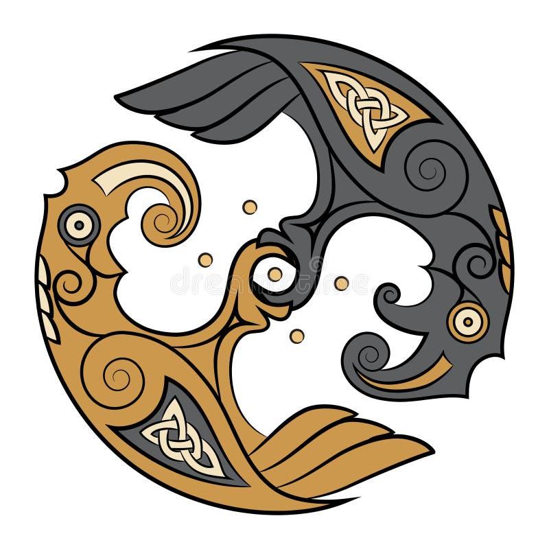 Två Ravens av guden Odin In Scandinavian Style Huginn och Muninn royaltyfri illustrationer