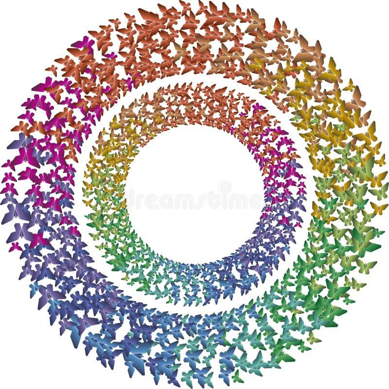 Två rcircles av mångfärgade regnbågefjärilar royaltyfri foto