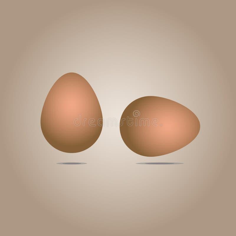 Två realistiska bruna ägg: en lokaliseras vertikalt, annat - horisontellt Vektor: isolerat på ljus - brun bakgrund vektor illustrationer