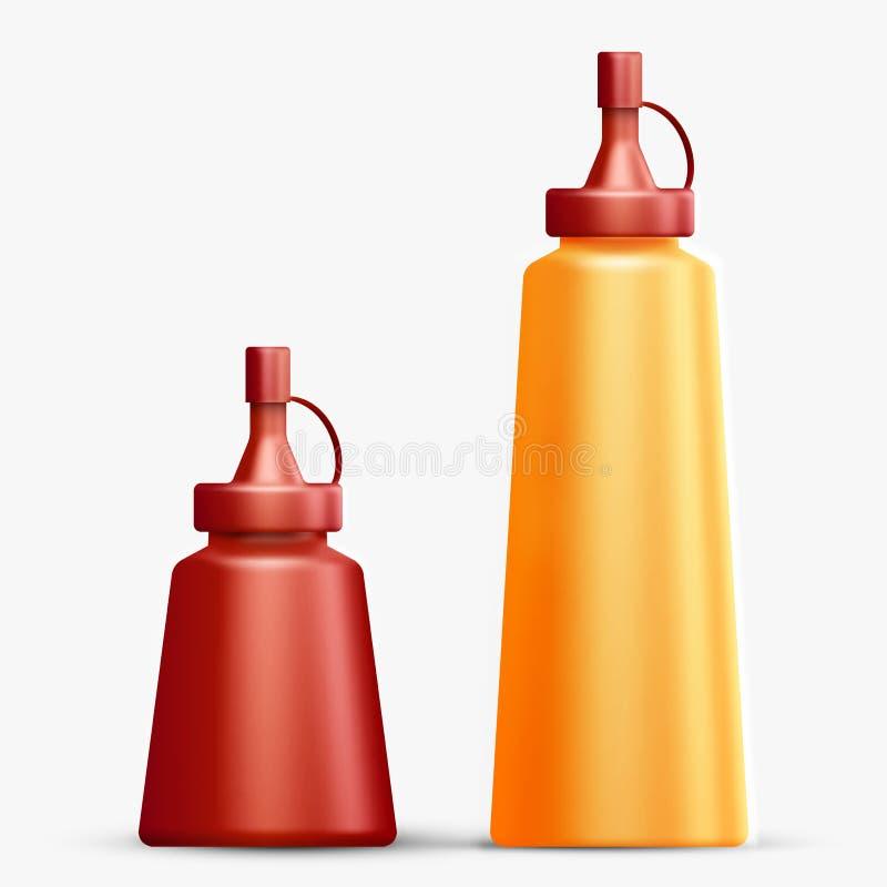 Två realistiska flaskor för ketchup och senap royaltyfri illustrationer