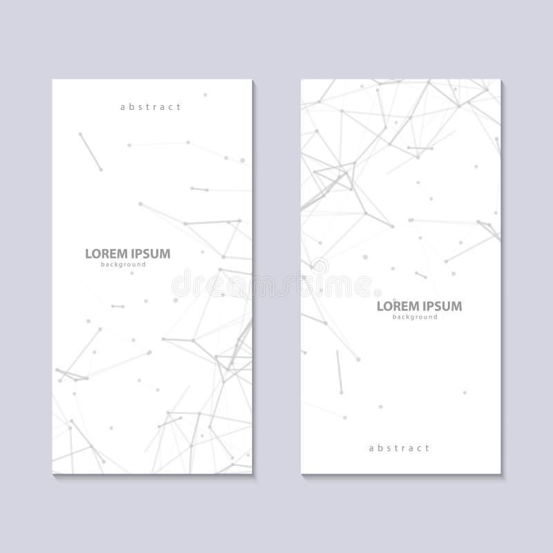 Två reklamblad med vit bakgrund för abstrakt plexus med gråa förbindelselinjer och prickar Minimalistic geometriskt för vektor vektor illustrationer