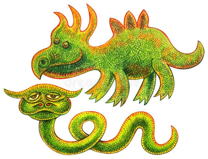 Två reptilar - rolig dinosaurie och ovanlig grön orm med horn royaltyfri illustrationer