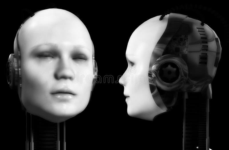 Två robothuvud 2 royaltyfri illustrationer