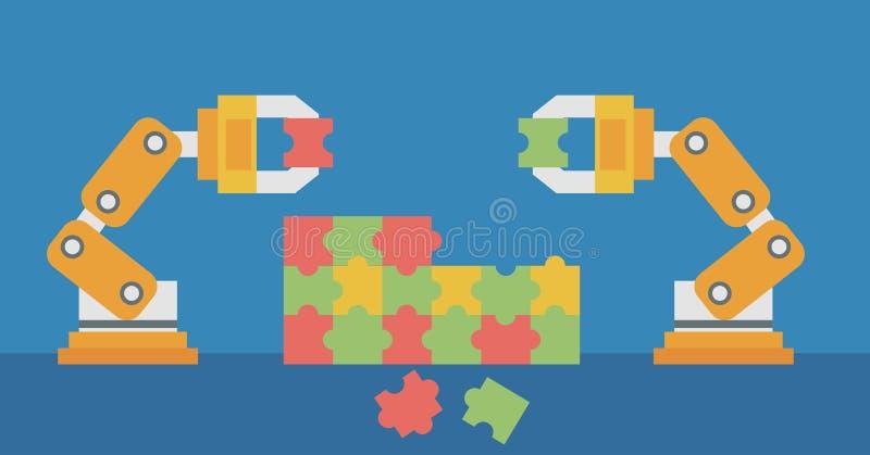 Två robotic armar som bygger ett färgrikt pussel vektor illustrationer