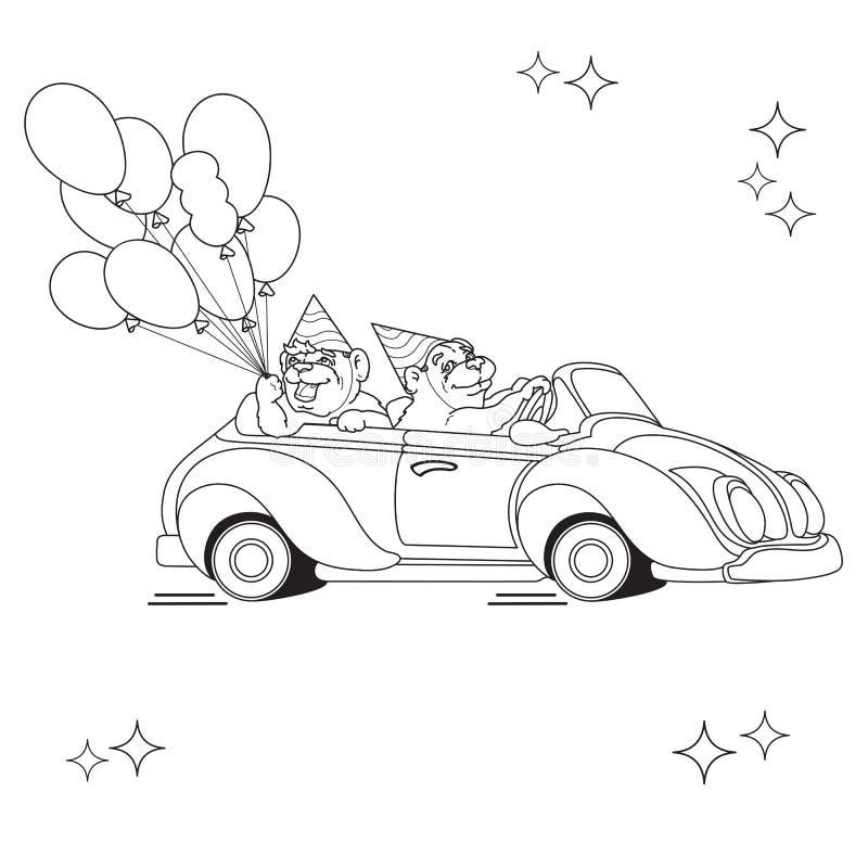 Två roliga björnar på leksakbilen Svart linje på vit vektor illustrationer