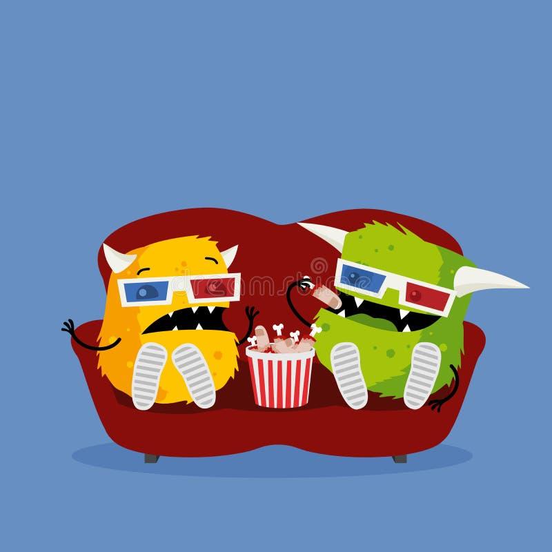 Två roliga monster som håller ögonen på läskig fasafilm bära exponeringsglas 3d, sitta på den röda soffan och äta mellanmål vektor illustrationer