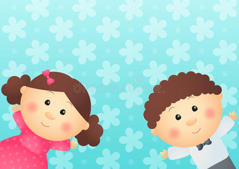 Två roliga ungar stock illustrationer