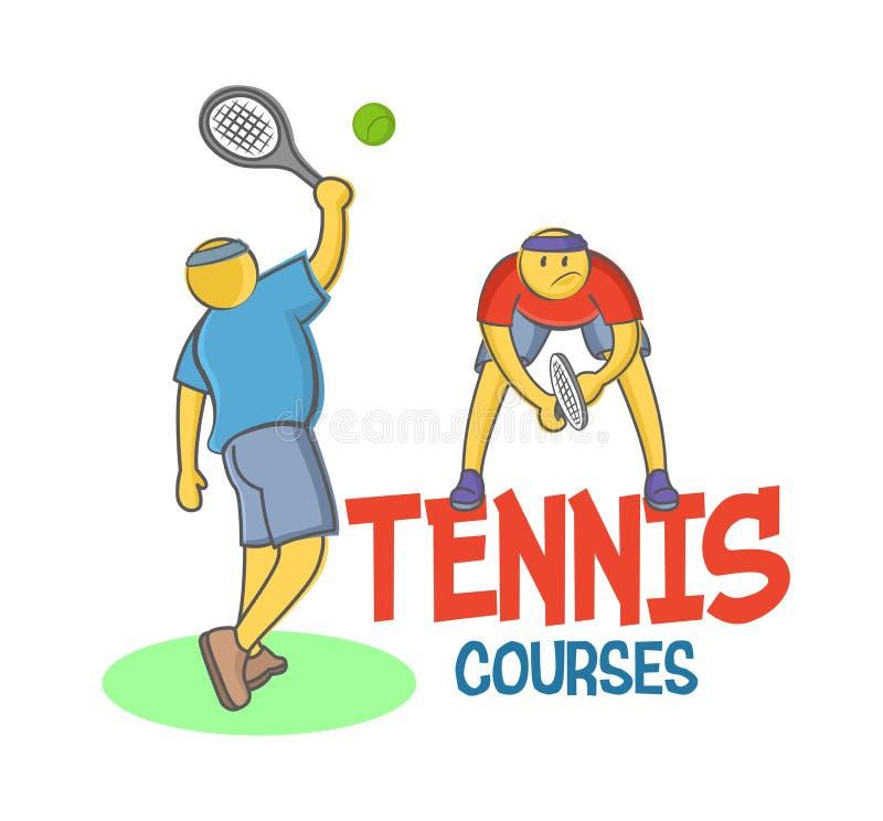 Två roliga vektorklottertecken som spelar tennis som isoleras på vit bakgrund, design för tennisakademin, skola, kurser stock illustrationer