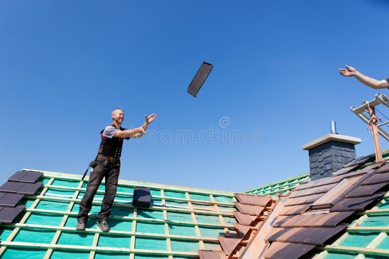 Två roofers som kastar tegelplattor royaltyfri foto