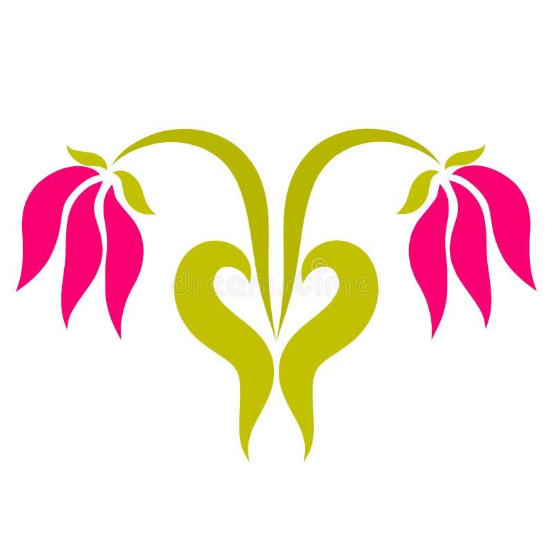 Två rosa blommor och en hjärta av deras sidor vektor illustrationer