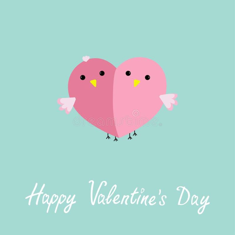 Två rosa fåglar i form av den halva designen för lägenheten för hjärtaförälskelsevagnen utformar det lyckliga valentindagkortet stock illustrationer