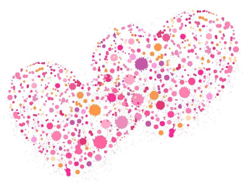 Två rosa hjärtor förbindelse med tillsammans royaltyfri illustrationer