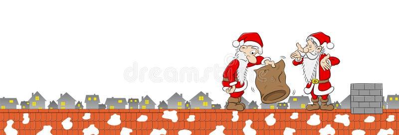 Två Santa Claus med den tomma påsen på ett tak royaltyfri illustrationer