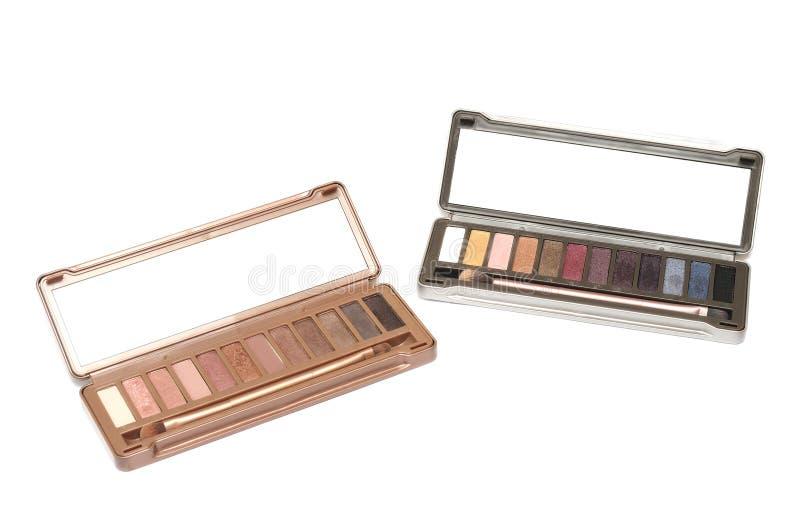 Två satser för palett för ögonskugga kosmetiska royaltyfri foto