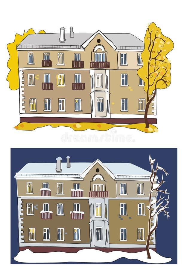 Två sikter av gammal byggnad: i höst och i vinter arkivbild