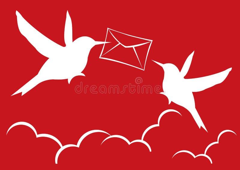 Två silhouettepostfåglar stock illustrationer