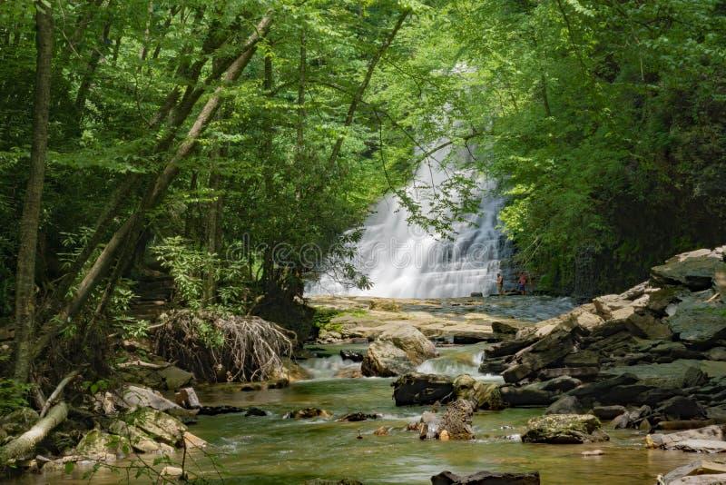 Två simmare på grunden av kaskadnedgångar, Giles County, Virginia, USA arkivbilder