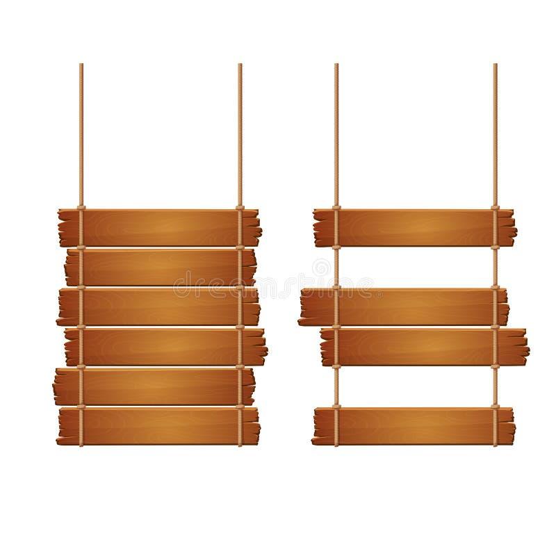 Två sjaskiga trätecken som isoleras på en vit bakgrund Gamla plankor med ojämna kanter som fästs med repet med miss för några pla royaltyfri illustrationer