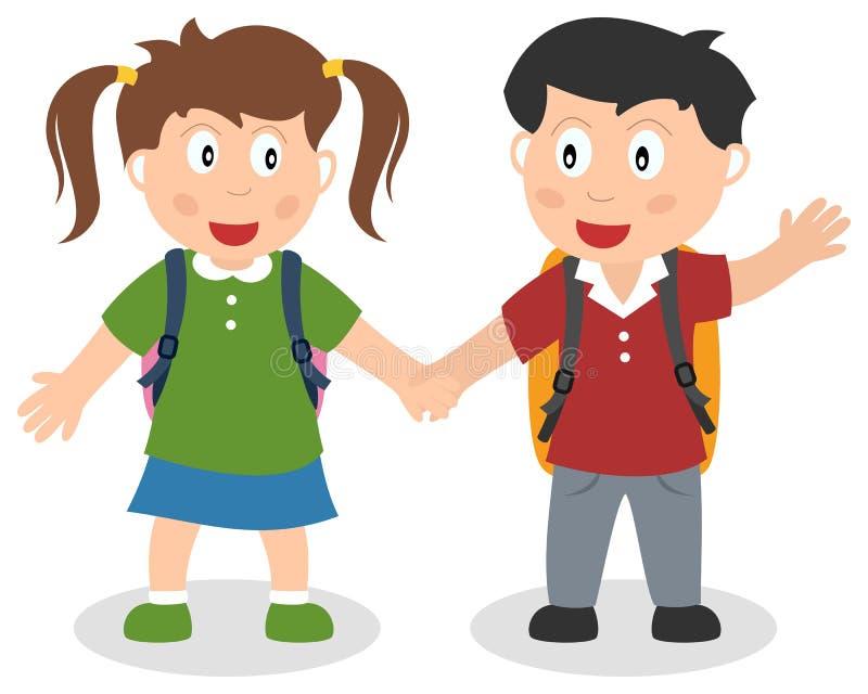 Två skolaungar som rymmer händer vektor illustrationer