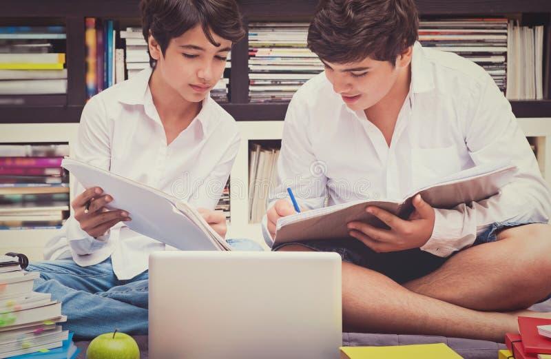 Två skolpojkar i arkivet arkivfoton