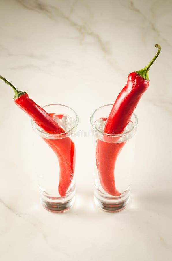 två skott av skott för vodka och för röd chili för peppar/rwoav vodka och peppar för röd chili på en vit bakgrund arkivbild