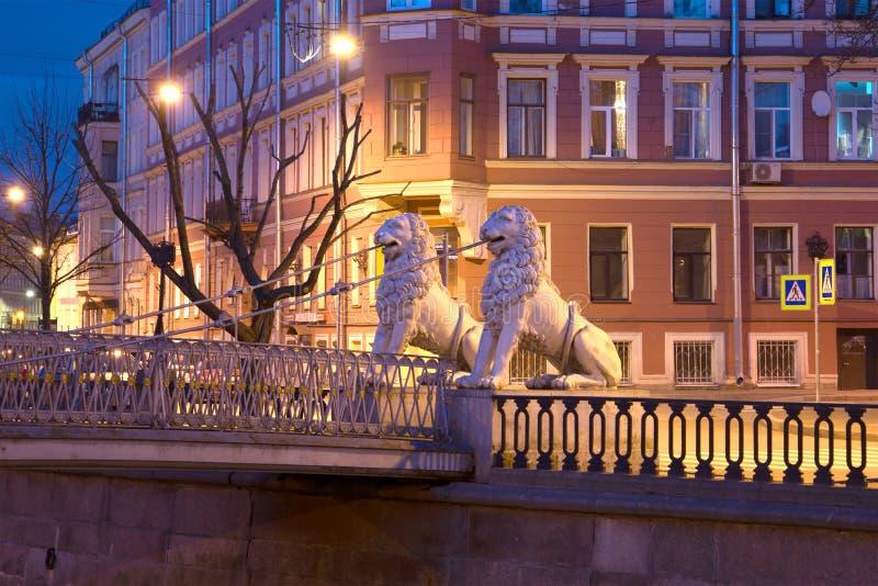 Två skulpturer av lejon på lejonets bro i nattlandskap St Petersburg royaltyfri fotografi