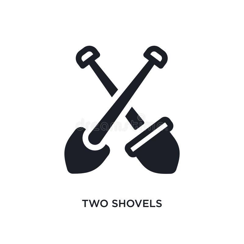 två skyfflar isolerad symbol enkel beståndsdelillustration från konstruktionsbegreppssymboler för logotecken för två skyfflar red royaltyfri fotografi