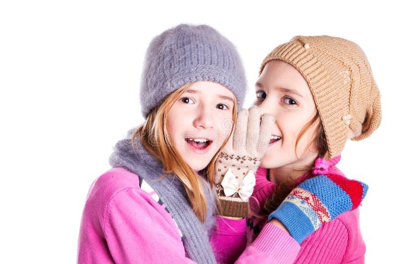Två små flickor pratar arkivfoto