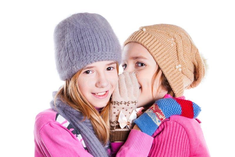 Två små flickor pratar royaltyfri foto