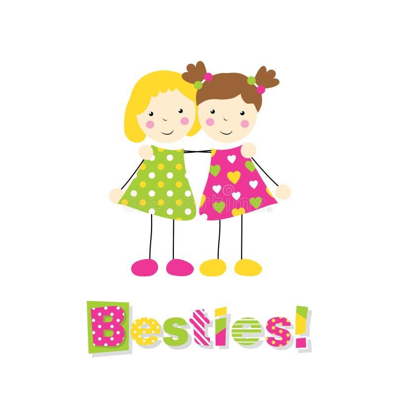 Två små flickor som rymmer armar runt om de med bestiestypografi stock illustrationer
