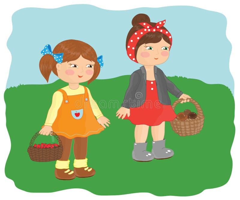 Två små flickor väljer bär och champinjoner royaltyfri illustrationer