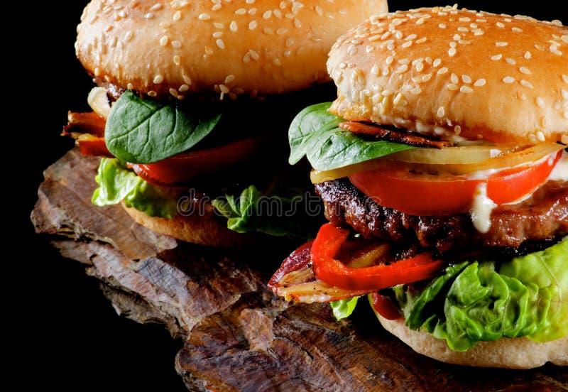 Två smakliga hamburgare royaltyfria bilder
