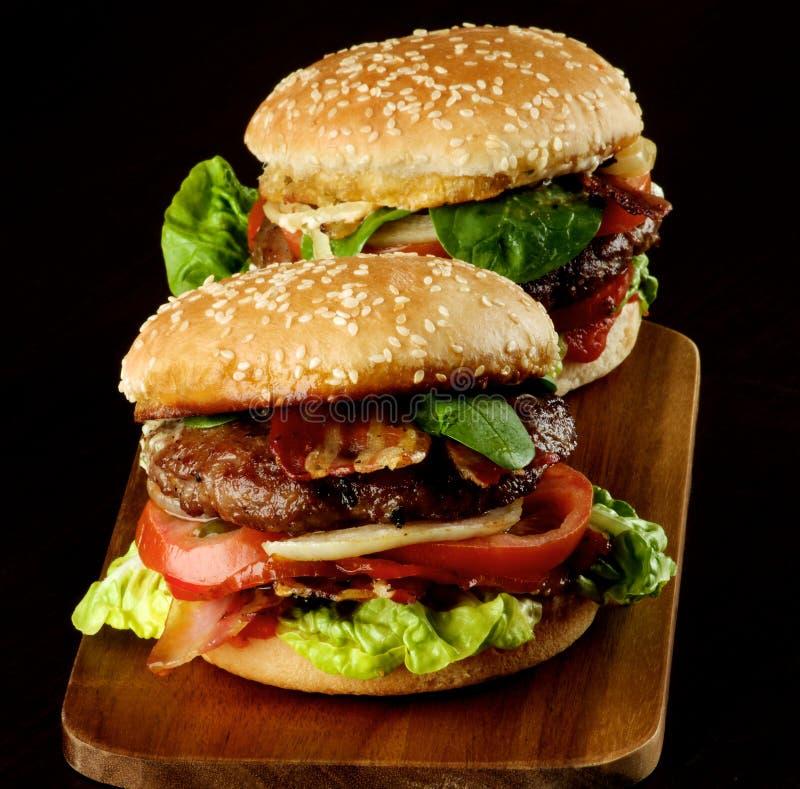 Två smakliga hamburgare arkivbilder