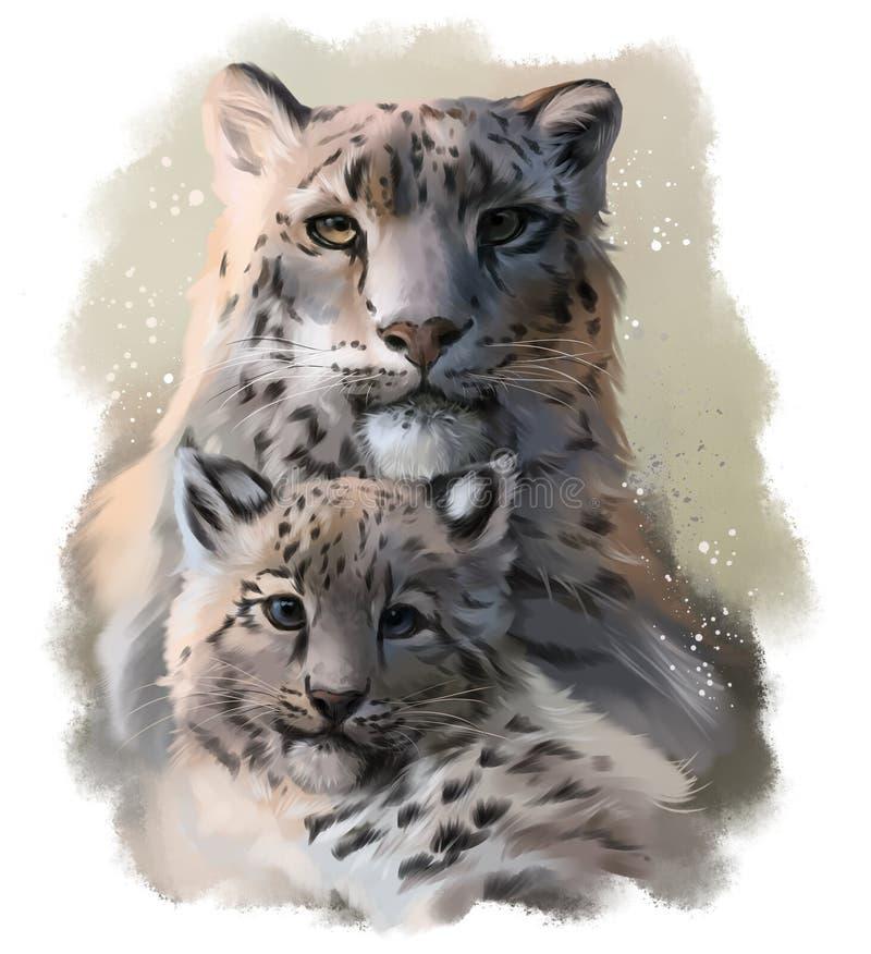 Två snowleopards stock illustrationer