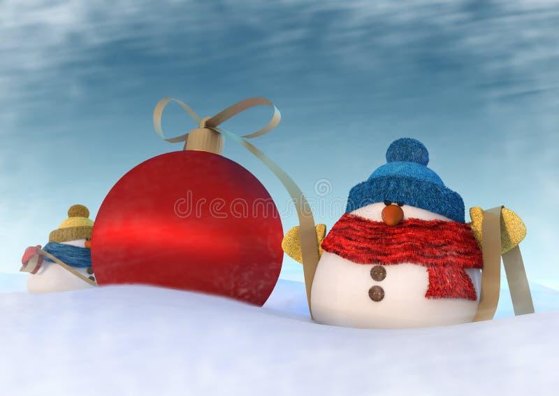 Två snowmans royaltyfri fotografi