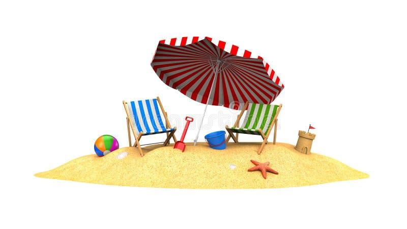 Två soldagdrivare och slags solskydd på stranden royaltyfri illustrationer