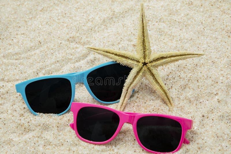 Två solglasögon och sjöstjärna på sand royaltyfri foto