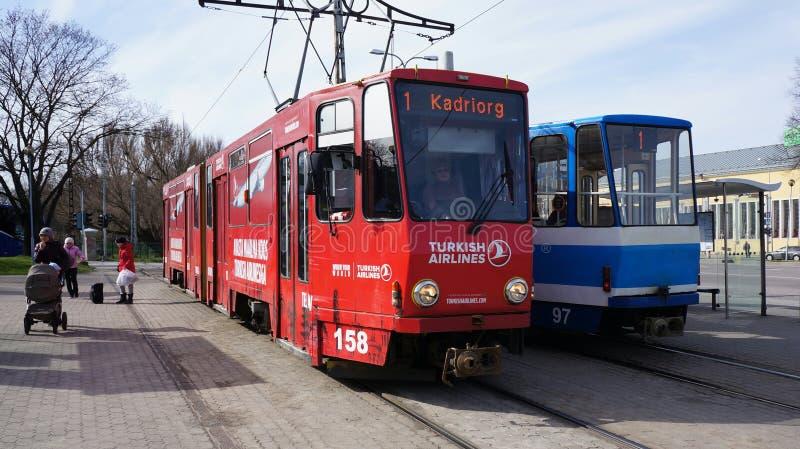 Två som röd-vit färgade spårvagnar som står sidan - förbi - sid på stationen i Tallinn, Estland fotografering för bildbyråer