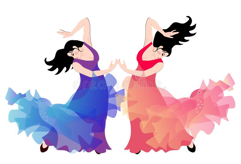 Två spanska flickor - flamencodansare som isoleras på vit bakgrund royaltyfri illustrationer