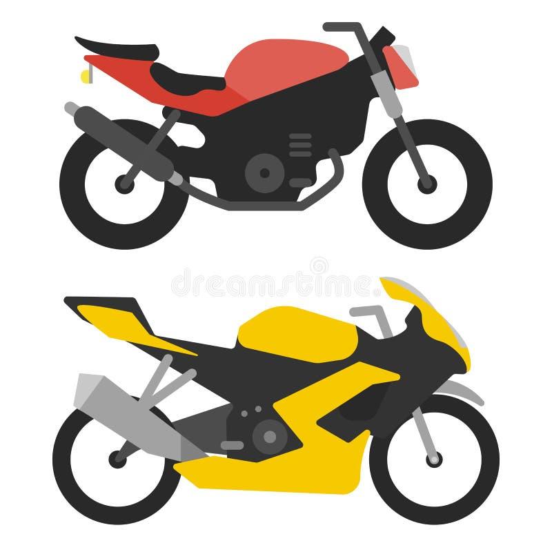 Två sportcyklar som isoleras på vita bakgrundsmotorcyklar vektor illustrationer