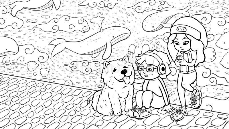 """Två stads- flickor och en hund för käkkäk framme av en svart & vit version för grafittivägg†"""" royaltyfri illustrationer"""