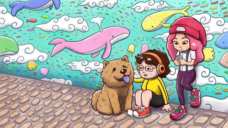 Två stads- flickor och en käkkäk dog framme av en grafittivägg - målad version royaltyfri illustrationer