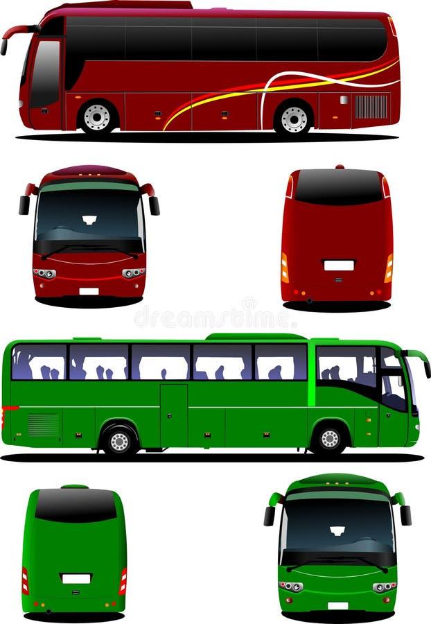 Två stadsbussar Turist- lagledare vektor illustrationer