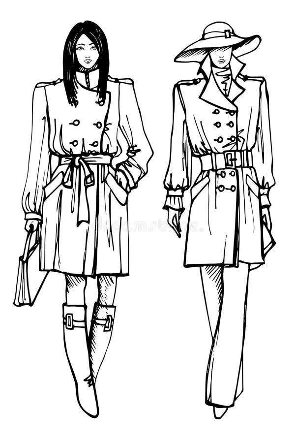 Två stilfulla älskvärda flickor Mode skissar vektorn vektor illustrationer