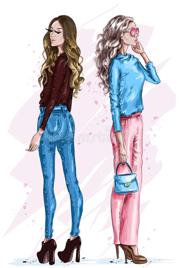 Två stilfulla härliga kvinnor Modeflickor med tillbehör Hand drog flickor i modekläder fashion looken skissa royaltyfri illustrationer