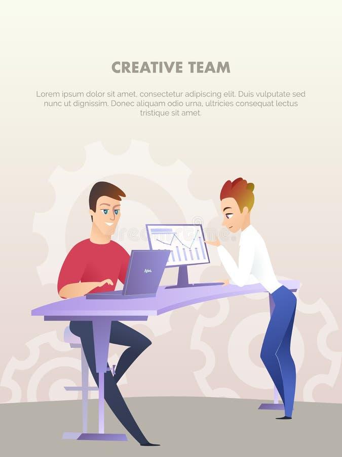 Två stiliga män arbetar på datoren på kontorstabellen stock illustrationer