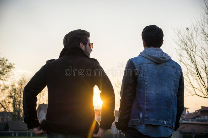 Två stiliga unga män, vänner, i en parkera fotografering för bildbyråer