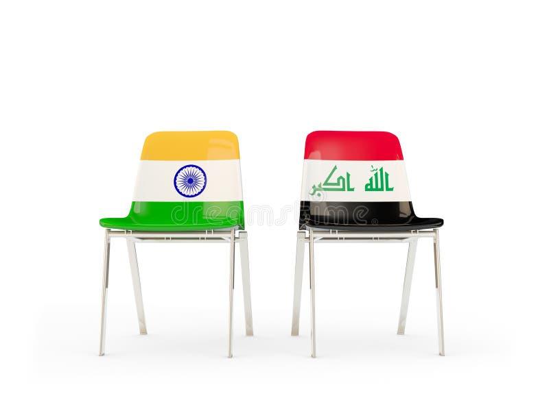 Två stolar med flaggor av Indien och Irak vektor illustrationer